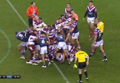Tensions boil over in the WCC after Roosters forward's late shot