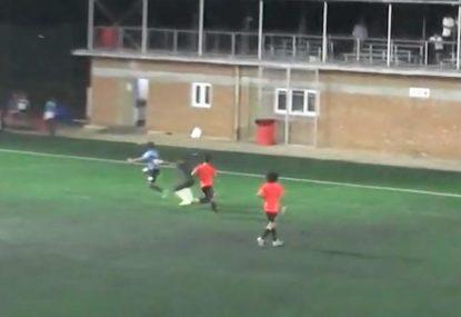 AMATEUR footballer scores a goal fit for an ULTIMATE PRO