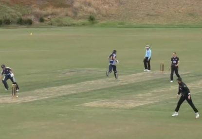 Glenn Maxwell-esque fielder destroys one stump from side-on