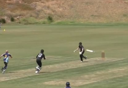 The bat goes flying in unusual caught-and-bowled situation