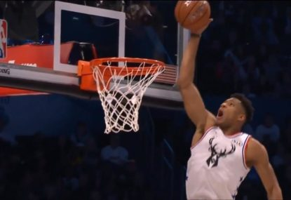 Steph Curry and Giannis Antetokounmpo combine for extraordinary All-Star dunk