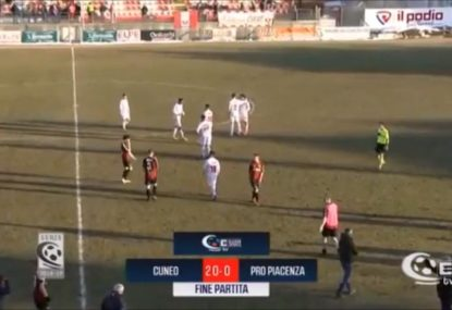 Farcical 20-0 defeat sees cash-strapped club kicked out of Italian third tier