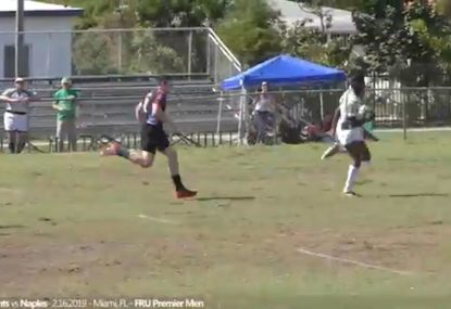Lightning fast rugby player leaves defence in his dust