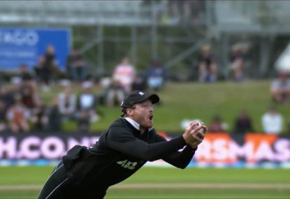 Ian Smith goes off as Martin Guptill takes another astonishing catch