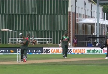 Bangladesh centurion embarrassingly loses his wicket- and his bat