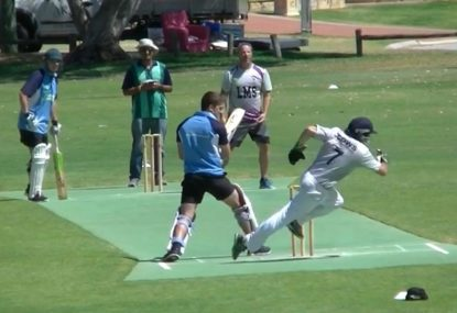 Klutzy keeper hilariously ruins himself in ALL-TIME CRICKET BLOOPER