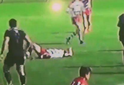 Samoan beast flattens defender in American university rugby