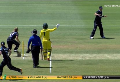 Kiwi bowler nearly comes a cropper on the stump mic plate