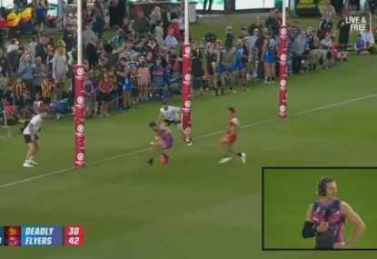 Fyfe savages Alex Rance after a howler in front of goal
