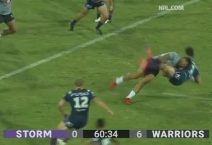 Melbourne Storm youngster flattened by bone-crunching tackle