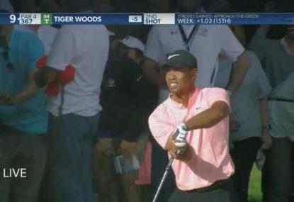 Vintage Tiger Woods produces an amazing bunker escape