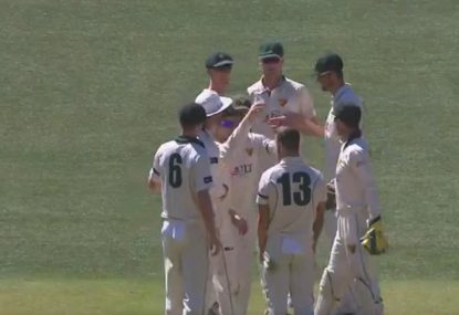 Wade gloriously picks up a wicket with one of the worst pies you'll see