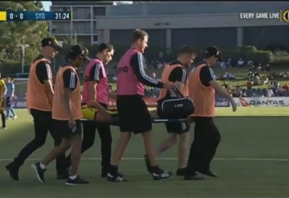 Dylan Fox stretchered off after some friendly fire from Phoenix teammate