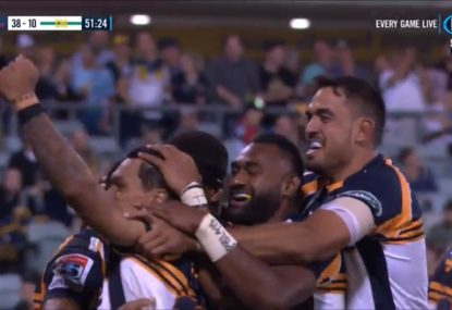 'Absolutely unbelievable' 90m team try sums up Brumbies' night for the ages