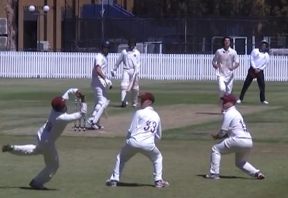 First slip takes a thunderbolt that almost rumbles past him