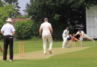 Keeper braves the fast ball to swiftly swipe the batsman's pegs