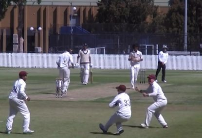 Wes Agar sends big snick to 2nd slip in Melbourne grade cricket match