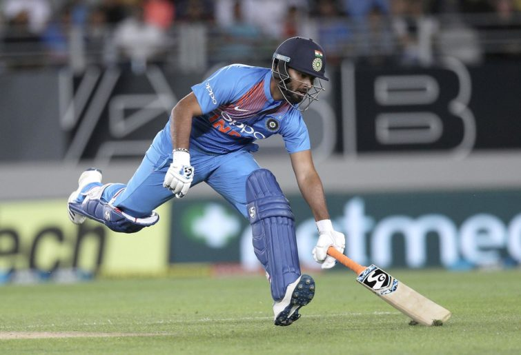 India's Rishabh Pant runs during their Twenty20 match at Eden Park against New Zealand.