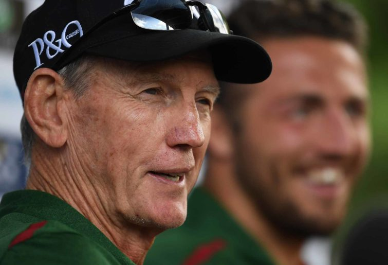 Souths Sydney's Bennett and Demetriou temporarily win the 'mine is bigger than yours' argument