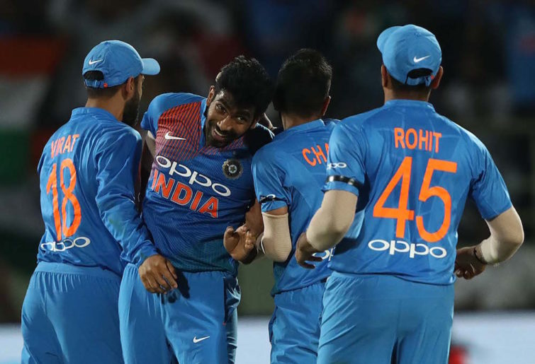 Jasprit Bumrah celebrates a wicket
