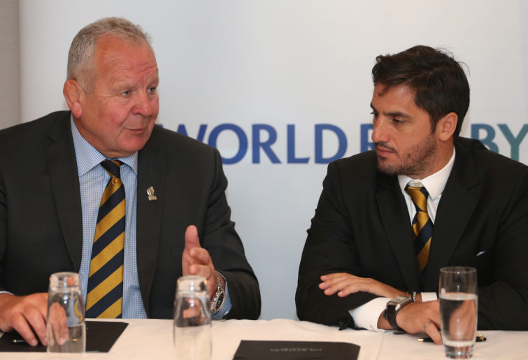 World Rugby chairman Bill Beaumont and vice-chairman Agustin Pichot