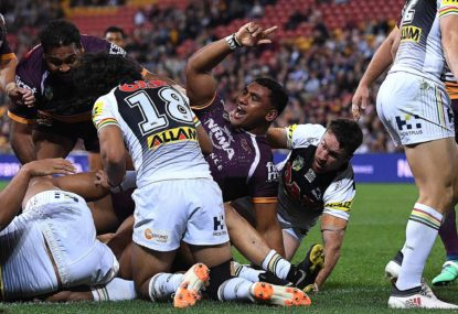 Storm and Broncos win on the back of the NRL's greatest showmen: Suliasi Vunivalu and Tevita Pangai