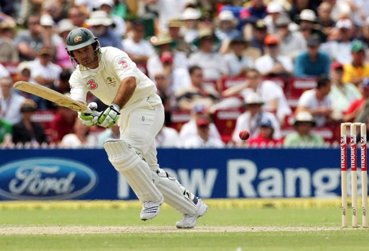 Ricky Ponting of Australia works the ball to leg