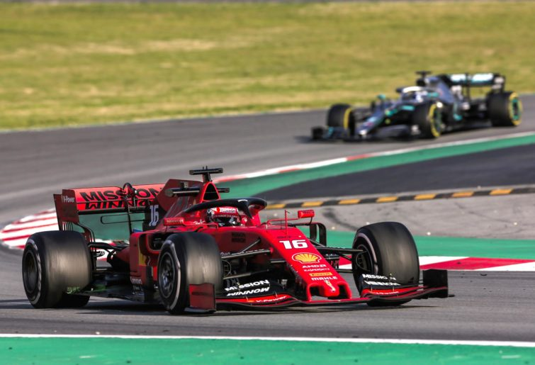 Ferrari's Charles Leclerc is followed on-track by Mercedes's Valtteri Bottas.