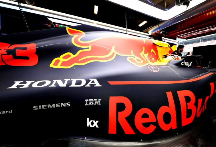 The Red Bull Racing RB15 in its garage during 2019 preseason testing.