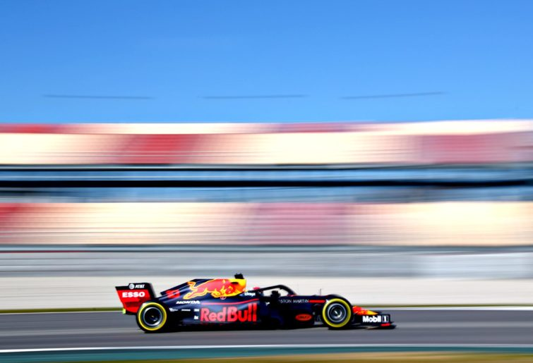 Red Bull Racing's Pierre Gasly takes to the track during 2019 preseason testing.