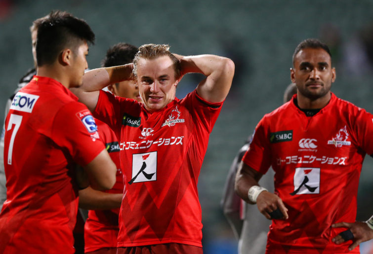 Hayden Parker reacts after a Sunwolves loss