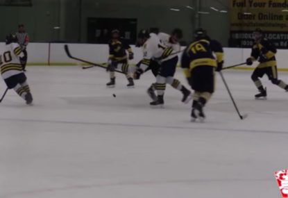 Ice hockey player absolutely FLATTENED... by own teammate!