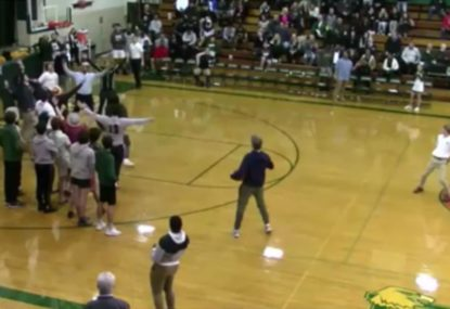 Perfect halftime half-court drain sends everyone nuts
