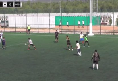 Striker casually lobs the keeper with one-touch bullet