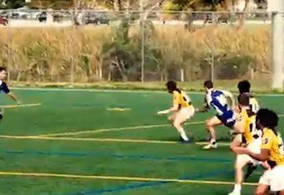 Running flyhalf's double step leaves defenders clutching at air