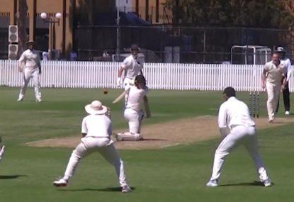 Batsman fires for cow corner but only finds first slip