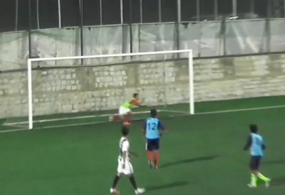 Goalie makes an absolute meal out of cheeky chip