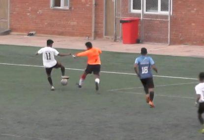 Striker runs circles around goalie before going in for the kill