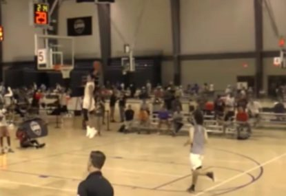 Showboat jams monster dunk on open fastbreak
