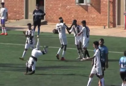 Teammate joins in on comically bizarre goal celebration