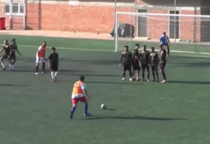 Amateur footballers contender for WORST free kick of all time
