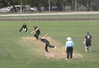 Bowler spots batsman on the move, gloves him out past the nose