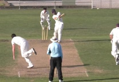 Epitome of park cricket 'big swing no ding' sees batsman lose the lot