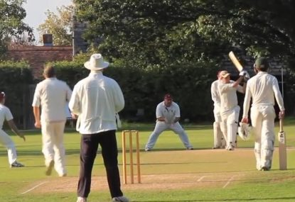 Bowled by swish across the line has commentator taking a cheeky dig