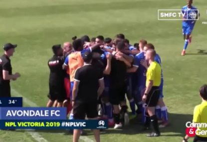 Team and coaching staff go nuts after perfect set piece execution