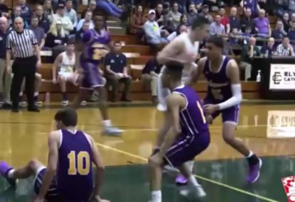 Player ends up on his rear end after jamming big dunk