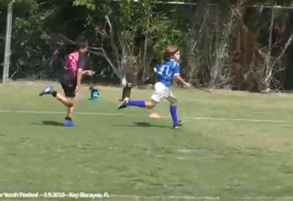 Little legend keeps pumping his legs for hard-fought solo try