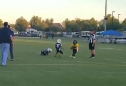 Clever little footballer tricks defence with hilarious fake stop-start play