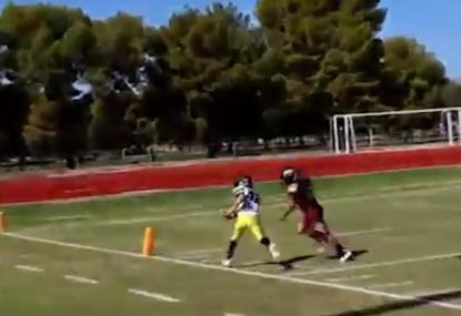 In or out? Insanely tight corner finish on awesome 45-yard dash