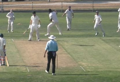 Bowlers leaping send-off after bowling batsman off a LEAVE!